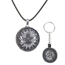 Load image into Gallery viewer, GUNGNEER Celtic Knot Symbol Strength Pendant Necklace Triquetra Key Chain Jewelry Set Men Women