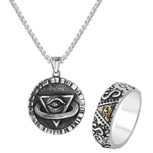 Load image into Gallery viewer, GUNGNEER Egyptian Pharaoh Eye of Horus Rune Amulet Necklace Biker Ring Egypt Jewelry Set
