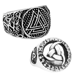 GUNGNEER 2 Pcs Viking Norse Valknut Symbol Triquetra Stainless Steel Amulet Ring Jewelry Set