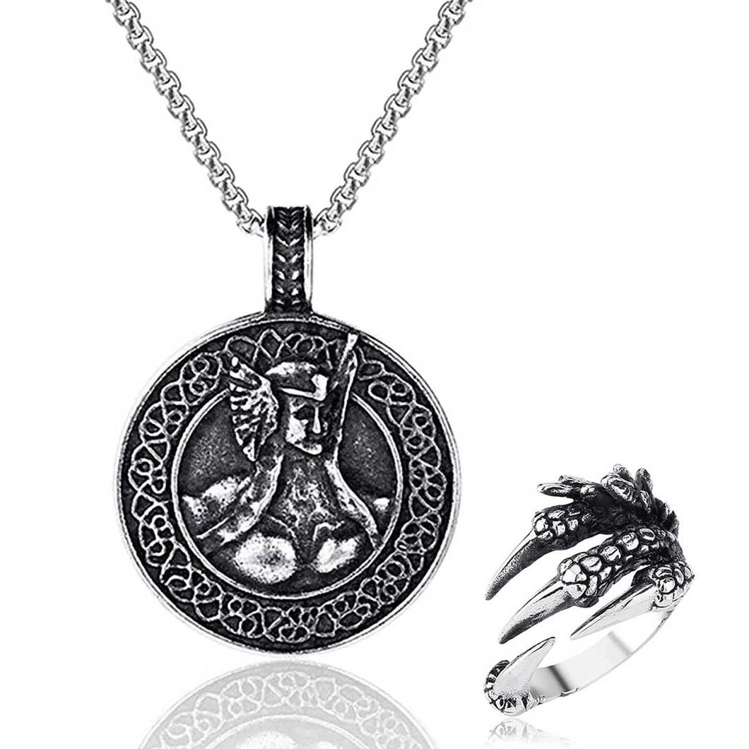 GUNGNEER Viking Warriors Vegvisir Rune Pendant Necklace with Dragon Claw Ring Jewelry Set