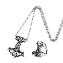 Load image into Gallery viewer, GUNGNEER 2 Pcs Stainless Steel Thor Hammer Fenrir Wolf Valknut Necklace with Ring Jewelry Set