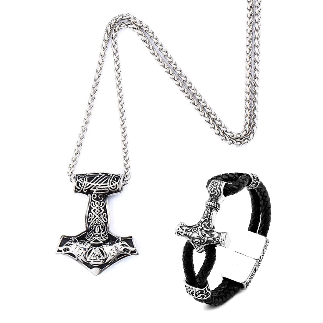 GUNGNEER Mjolnir Thor Hammer Viking Valknut Wolf Pendant Necklace with Bracelet Jewelry Set