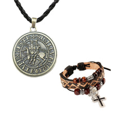 Load image into Gallery viewer, GUNGNEER Knights Templar Necklace Seal Pendant Necklace Christian Bracelet Jewelry Set