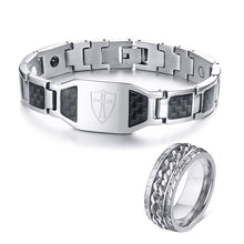 Load image into Gallery viewer, GUNGNEER Knights Templar Cross Shield Bracelet Ring Stainless Steel Jewelry Set Men Women
