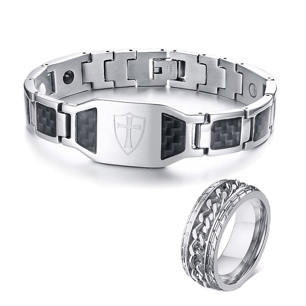 GUNGNEER Knights Templar Cross Shield Bracelet Ring Stainless Steel Jewelry Set Men Women