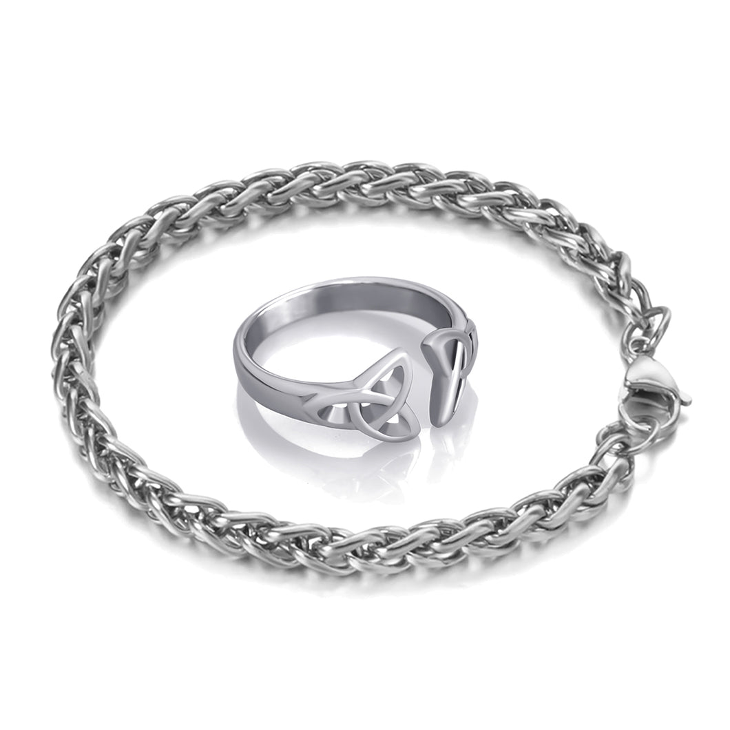 GUNGNEER Stainless Steel Celtic Knot Triqutra Ring Wheat Chain Bracelet Jewelry Set Men Women