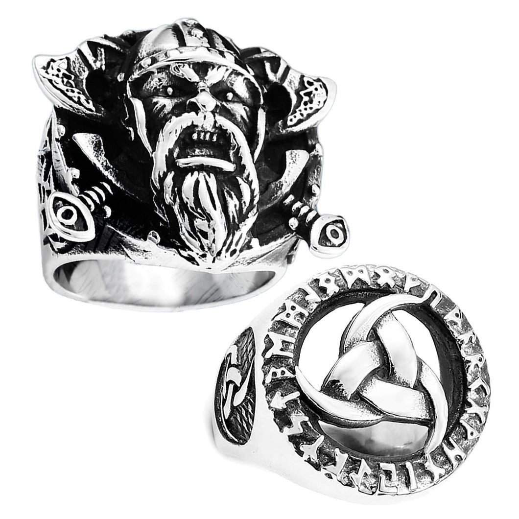 GUNGNEER 2 Pcs Viking Nordic Warriors Shield Axe Triquetra Ring Stainless Steel Jewelry Set