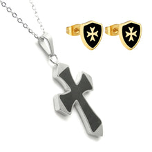 Load image into Gallery viewer, GUNGNEER Knight Templar Shield Stud Earrings with Pendant Necklace Stainless Steel Jewelry Set