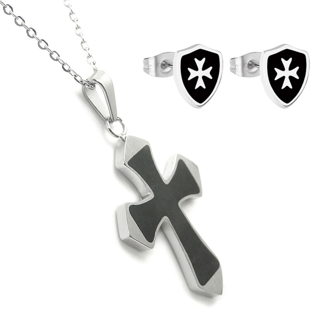 GUNGNEER Knight Templar Shield Stud Earrings with Pendant Necklace Stainless Steel Jewelry Set