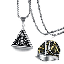Load image into Gallery viewer, GUNGNEER Masonic Ring For Men Eye Of Providence Pendant Necklace Jewelry Set Gift