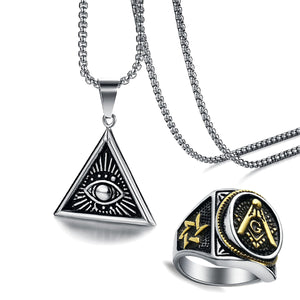 GUNGNEER Masonic Ring For Men Eye Of Providence Pendant Necklace Jewelry Set Gift
