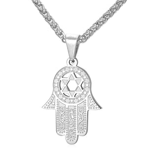 ENXICO Hansa The Hand of Fatima with Star of David Charm Pendant Necklace ? 316L Stainless Steel ? Ancient Jewish Jewelry (Gold)