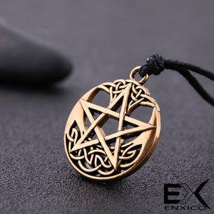 ENXICO Pentagram Pentacle Amulet Pendant Necklace with Celtic Knot Pattern ? Gold Color ? Celtic Wicca Pagan Witchcraft Jewelry