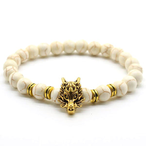 HoliStone Natural Lava Stone with Animal Wolf Head Charm Bracelet ? Anxiety Stress Relief Lucky Charm Bracelet for Women and Men