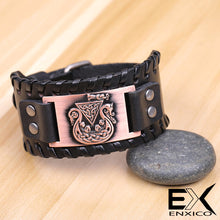 Load image into Gallery viewer, ENXICO Viking Ship Amulet Braided Leather Bangle Bracelet ? Nordic Scandinavian Viking Jewelry ? Black + Copper