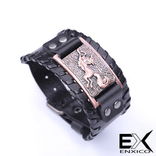 Load image into Gallery viewer, ENXICO Celtic Fox Amulet Braided Leather Bangle Bracelet ? Irish Celtic Zodiac Animal Spirit Jewelry ? Black + Silver