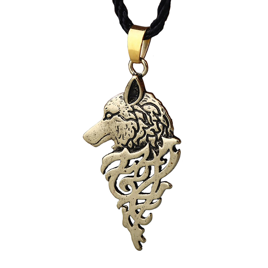 ENXICO Fenrir Wolf Amulet Pendant Necklace ? Gold Color ? Norse Scandinavia Viking Jewelry