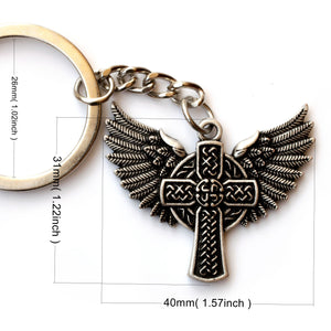 GUNGNEER Celtic Triskele Viking Wolf Amulet Pendant Necklace Cross Wings Key Chain Jewelry Set