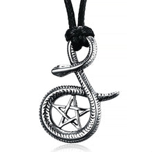 Load image into Gallery viewer, ENXICO Serpent Snake with Pentacle Amulet Pendant Necklace ? 316L Stainless Steel ? Wicca Pagan Witchcraft Jewelry
