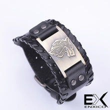 Load image into Gallery viewer, ENXICO Fenrir Wolf Head Amulet Braided Leather Bangle Bracelet ? Nordic Scandinavian Viking Jewelry ? Black + Silver