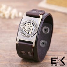 Load image into Gallery viewer, ENXICO Odin's Valknut with Runic Circle Amulet Leather Bangle Bracelet ? Nordic Scandinavian Viking Jewelry ? Black + Bronze