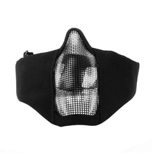 Load image into Gallery viewer, 2TRIDENTS Metal Steel Net Mesh Mask - Half Face Mask for Hunting, Outdoor Sport, Cycling, Motorcycling, ATV, Jet Skiing, Airsoft, Paintball, CS and More (01)