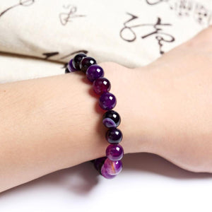 HoliStone Purple Tiger Eye Stone Beads Bracelet ? Anxiety Stress Relief Yoga Beads Bracelets Chakra Healing Crystal Bracelet for Women and Men