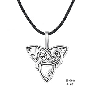 GUNGNEER Celtic Cat with Triquetra Knot Pendant Necklace ? Celtic Zodiac Animal Symbol ? Irish Celtic Jewelry