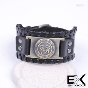 ENXICO Eye of Horus Amulet Braided Leather Bangle Bracelet ? Ancient Egyptian God Jewelry ? Black + Bronze