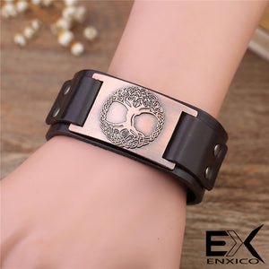 ENXICO Yggdrasil The Tree of Life Amulet Bangle Bracelet ? Nordic Scandinavian Viking Jewelry ? Brown + Silver