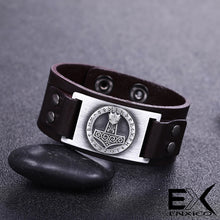 Load image into Gallery viewer, ENXICO Thor's Hammer Mjolnir Amulet Leather Bangle Bracelet ? Nordic Scandinavian Viking Jewelry ? Black + Bronze