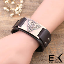 Load image into Gallery viewer, ENXICO Celtic Cat and Triquetra Knot Amulet Leather Bangle Bracelet ? Irish Celtic Zodiac Spirit Jewelry ? Black + Silver