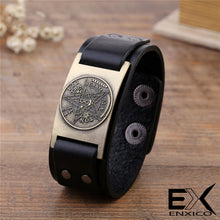 Load image into Gallery viewer, ENXICO Tetragrammaton Pentacle Leather Bangle Bracelet ? Wicca Pagan Witchcraft Jewelry ? Black + Bronze