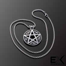 Load image into Gallery viewer, ENXICO Devil's Trap Pentagram Amulet Pendant Necklace ? 316L Stainless Steel ? Wicca Pagan Witchraft Jewelry