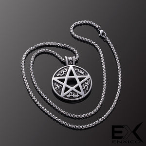 ENXICO Devil's Trap Pentagram Amulet Pendant Necklace ? 316L Stainless Steel ? Wicca Pagan Witchraft Jewelry