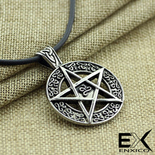 Load image into Gallery viewer, ENXICO Pentacle Star Amulet Pendant Necklace ? Silver Color ? Wicca Pagan Withcraft Jewelry