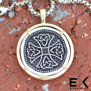 ENXICO Celtic Cross Amulet Pendant Necklace ? Stainless Steel - Copper ? Irish Celtic Jewelry