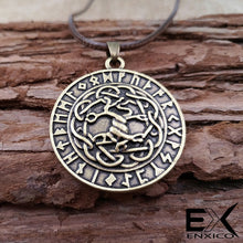 Load image into Gallery viewer, ENXICO Yggdrasil The Tree of Life Pendant Necklace with Rune Circle Surrounding ? Norse Scandinavian Viking Jewelry ? Bronze Plated