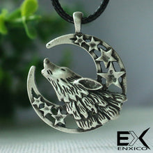 Load image into Gallery viewer, ENXICO Wolf Head and Criscent Moon Amulet Pendant Necklace ? Grey Color ? Animal Spirit Totem Jewelry