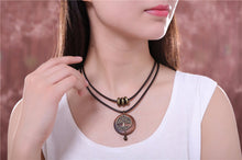 Load image into Gallery viewer, ENXICO Wooden Tree of Life Pendant Choker Necklace ? Vintage World Tree Jewelry for Women