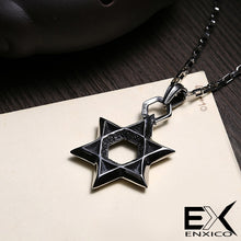 Load image into Gallery viewer, ENXICO Star of David Hexagram Amulet Pendant Necklace ? 316L Stainless Steel ? Jewish Jewelry