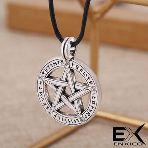 ENXICO Runic Pentacle Amulet Pendant Necklace with Rune Circle Surrounding ? Silver Color ? Wicca Pagan Witchraft Jewelry