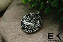 Load image into Gallery viewer, ENXICO Deer with Oak Tree Circle Amulet Pendant Necklace ? Grey Color ? Zodiac Animal Spirit Jewelry