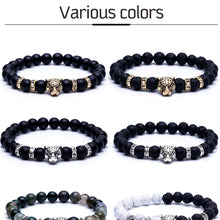Load image into Gallery viewer, HoliStone 8mm Natural Lava Stone with Leopard/Panther Head Lucky Charm Bracelet for Women and Men