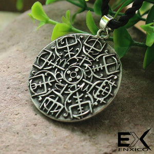 ENXICO Aegishjalmur Helm of Awe Amulet Pendant Necklace ? Grey Color ? Norse Scandinavian Viking Jewelry