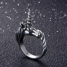 Load image into Gallery viewer, ENXICO Black Unicorn Ring for Men ? Best Gift for Unicorn Lover ? 316L Stailess Steel ? Legendary Animal Jewelry (10)