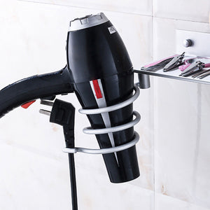 2TRIDENTS Hair Dryer Stand Storage Organizer Rack Holder Hanger Wall Mount - Great for Bathroom, Washroom and Restroom