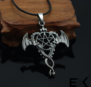 ENXICO Dragon Couple and The Pentacle Amulet Pendant Necklace ? Silver Color ? Wicca Pagan Witchcraft Jewelry