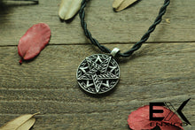 Load image into Gallery viewer, ENXICO Double Pentacle Pentagram Amulet Pendant Necklace ? Grey Color ? Wicca Pagan Witchcraft Jewelry