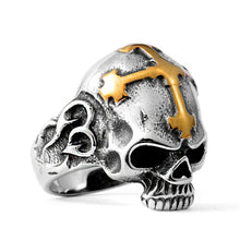 Load image into Gallery viewer, GUNGNEER Square Face Masonic Ring Stainless Steel Cross Skull Ring Jewelry Set For Men